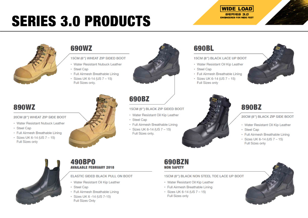 Wide Load series 3 safety boot product range